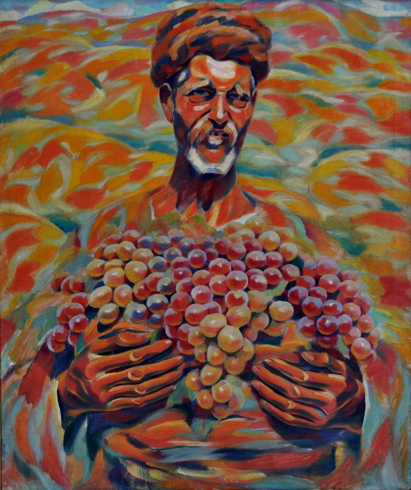 A peasant with grapes